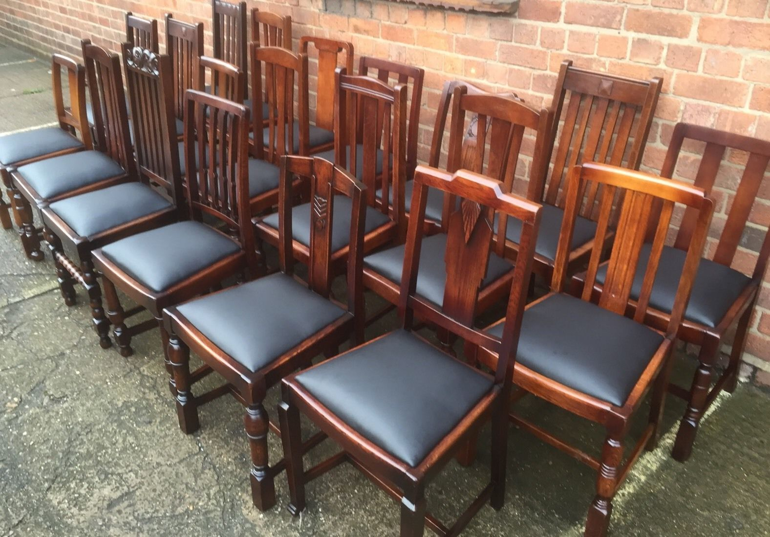 Collection Of Oak 1920s Refurbished Dining Chairs For