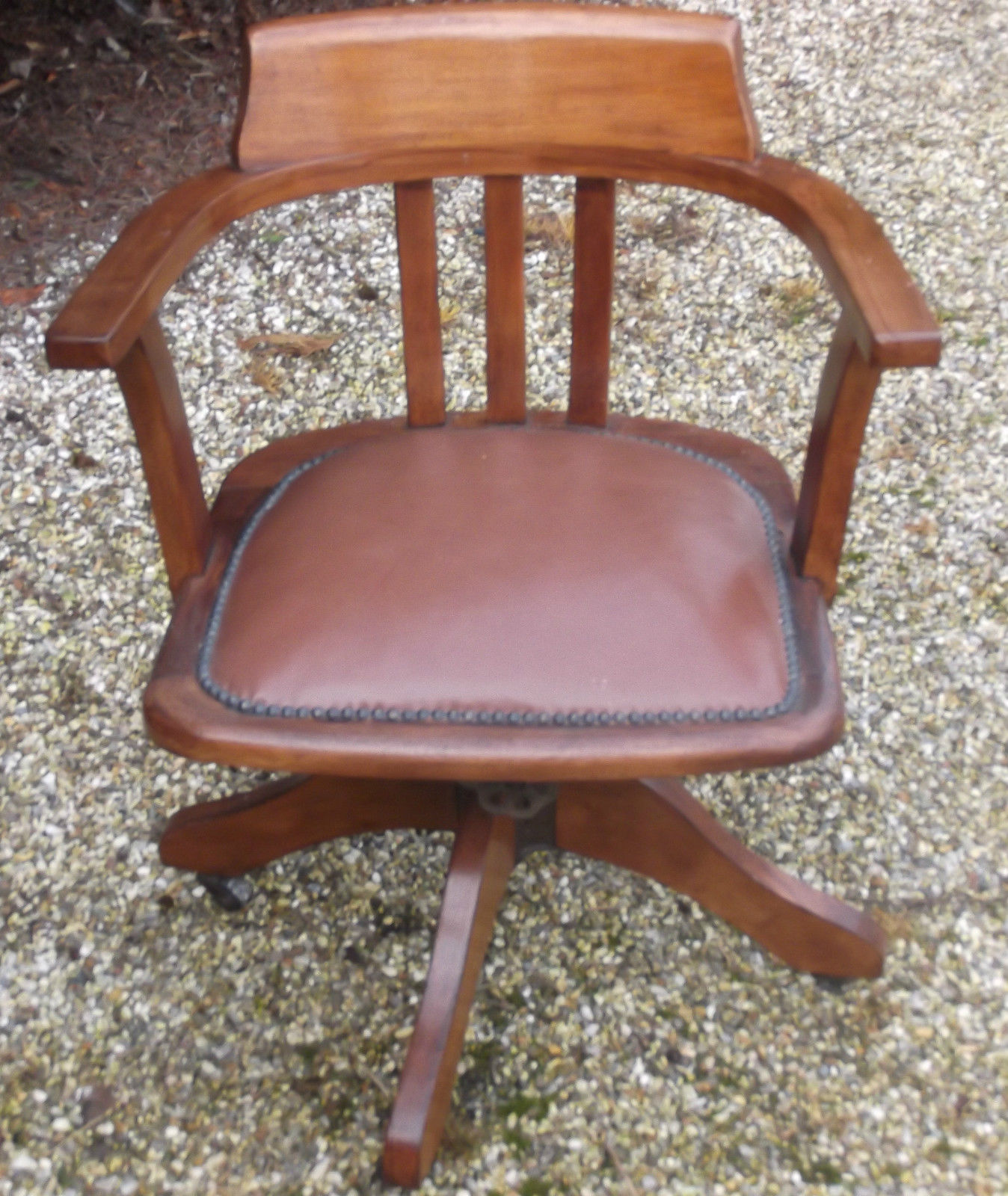 Fine Antique Office Swivel Captain S Chair Very Clean
