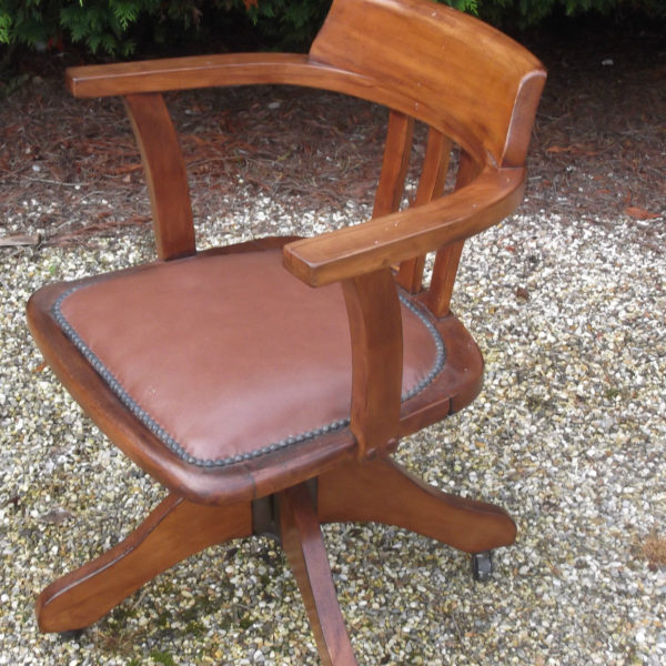 FINE-ANTIQUE-OFFICE-SWIVEL-CAPTAIN-S-CHAIR-VERY-CLEAN-DELIVERY-AVAILABLE-291752773755