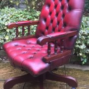 FINE-ANTIQUE-STYLE-OXBLOOD-LEATHER-DIRECTORS-SWIVEL-CHAIR-DELIVERY-AVAILABLE-292082957313-6