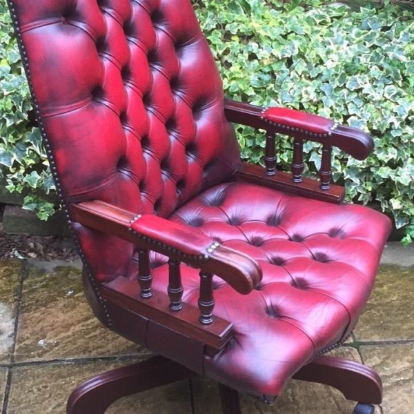 FINE-ANTIQUE-STYLE-OXBLOOD-LEATHER-DIRECTORS-SWIVEL-CHAIR-DELIVERY-AVAILABLE-292082957313