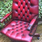 FINE-ANTIQUE-STYLE-OXBLOOD-LEATHER-DIRECTORS-SWIVEL-CHAIR-DELIVERY-AVAILABLE-292082957313-8