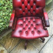 FINE-ANTIQUE-STYLE-OXBLOOD-LEATHER-DIRECTORS-SWIVEL-CHAIR-DELIVERY-AVAILABLE-292082957313-9