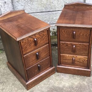 FINE-PAIR-OF-ARTS-CRAFTS-CARVED-OAK-BEDSIDE-CABINETSCHESTS-SELDOM-SEEN-302277291373