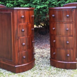 FINE-PAIR-OF-VICTORIAN-BOW-FRONT-MAHOGANY-BEDSIDE-4-DRAWER-CHESTS-SELDOM-SEEN-302280998980