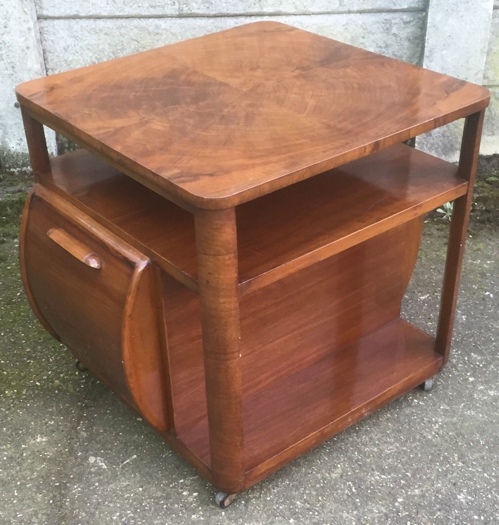 Fine walnut art deco drinks cabinet coffee table for Coffee table delivery