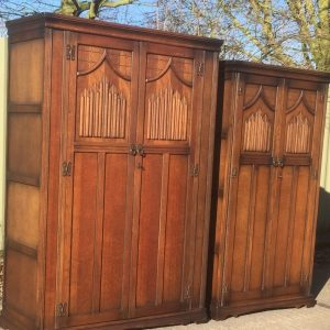 OUTSTANDING-PAIR-OF-ARTS-CRAFTS-OLD-CHARM-2-DOOR-WARDROBES-WE-CAN-DELIVER-302263524594