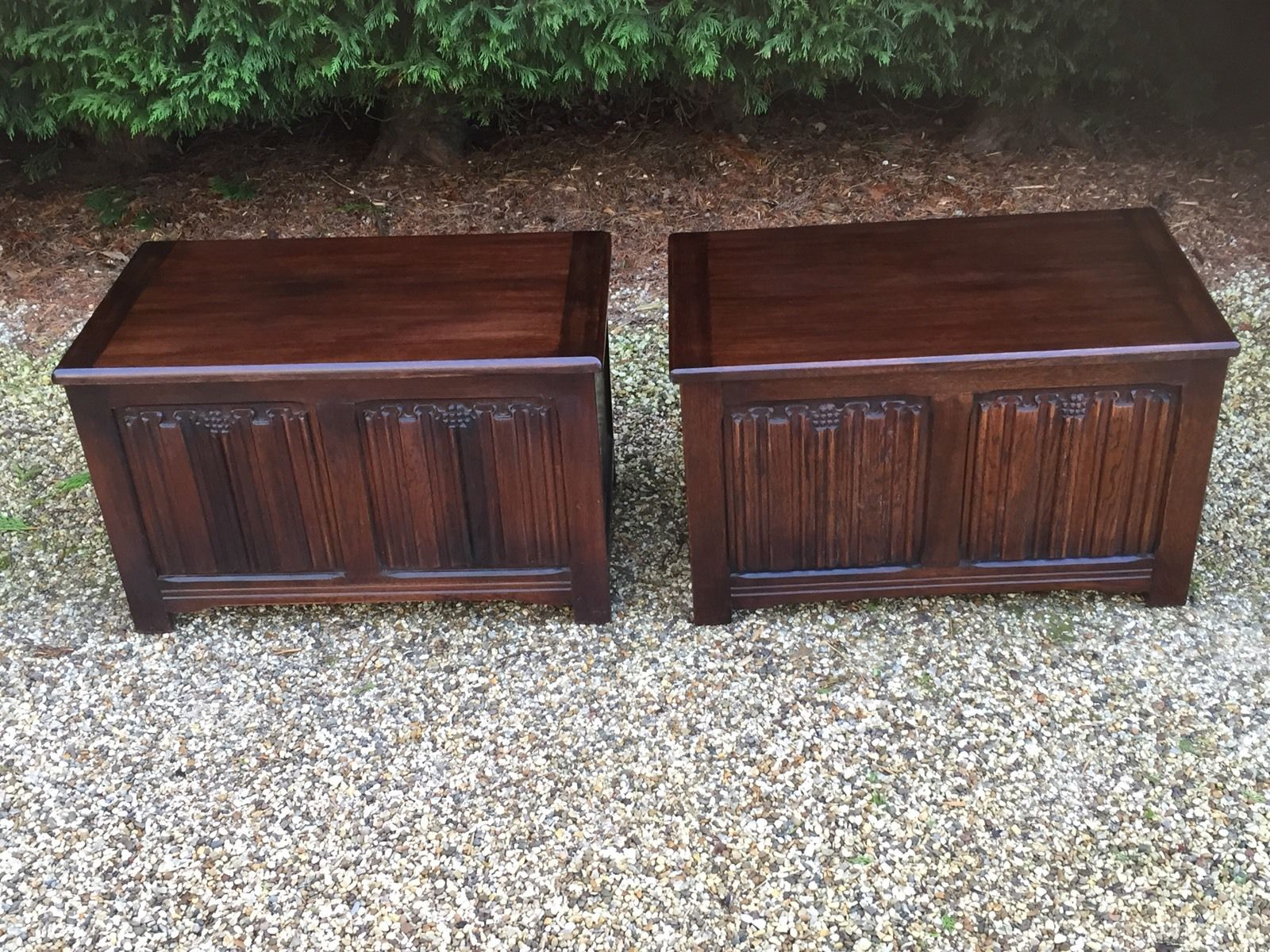 RARE PAIR OF OLD CHARM STYLE OAK RUG TOY CHESTS BLANKET BOXES