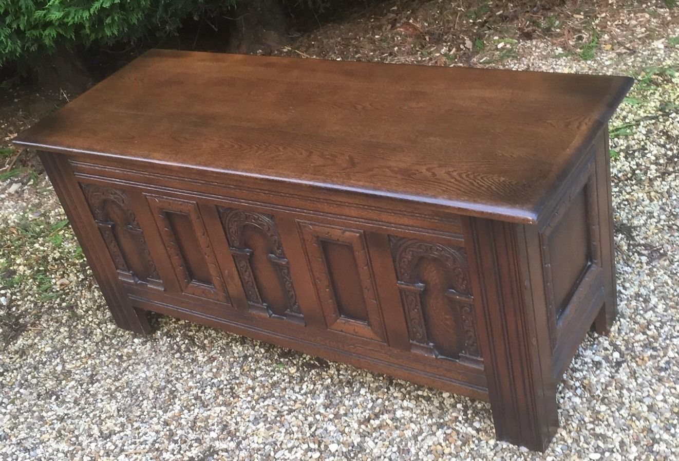 Coffee Table Toy Chest.Superb Carved Oak Old Charm Rug Toy Chest Blanket Box Coffee Table
