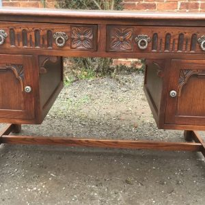 SUPERB-OLD-CHARM-LEATHER-TOPPED-WRITING-DESK-VERY-CLEAN-2-MAN-DELIVERY-292068216150