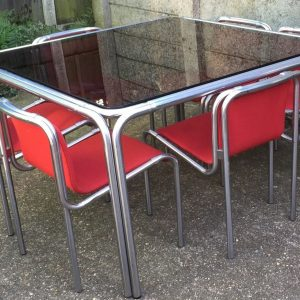 SUPERB-POST-WAR-CHROME-GLASS-TUBULAR-DINING-SUITE-VERY-RARE-SELDOM-SEEN-292085605737
