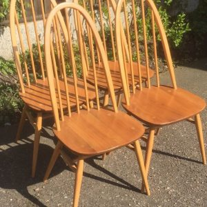 SUPERB-SET-OF-4-RETRO-ERCOL-QUAKER-DINING-CHAIRS-VERY-CLEAN-CONDITION-302272184900